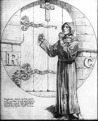 """Das betreten der Rosenkreuzer Mysterien. Der Kandidat macht ein Handzeichen der Geheimhaltung. Beachtet ebenfalls die Buchstaben """"RC"""" wie bei R.C. Christian."""