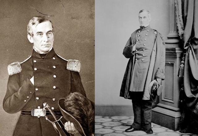 Robert Anderson (b. 1805 – d. 1875) Freemason and Major General in the U.S. Army during the American Civil War. Anderson was in command of Sumter at the time of the Confederate attack. Raised in Mercer Lodge No. 50, Trenton, N.J. May 27, 1858. He was also an honorary member of Pacific Lodge No. 233 of New York City.