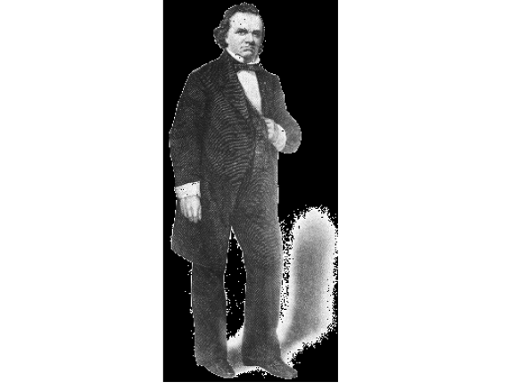 Stephen A. Douglas (b. 1813 – d. 1861) Freemason and U.S. Senator from Illinois, who gained fame by his debates with Abraham Lincoln. Initiated on June 11th, 1840 Springfield Lodge No. 4, Springfield Illinois. Upon his death, Douglas was buried Masonically, per his request. A monument was dedicated to him Masonically in Chicago on Sept. 6th, 1866. Fellow Freemason and then – U.S. President Andrew Johnson attended the ceremony.