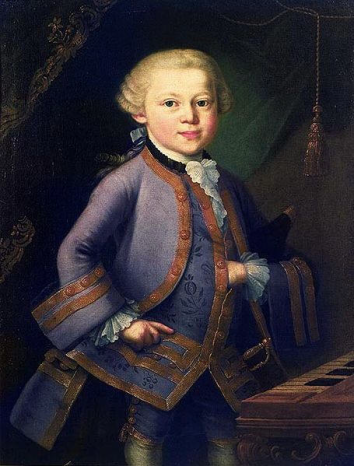 Anonymous portrait of the child Wolfgang Amadeus Mozart, possibly by Pietro Antonio Lorenzoni; painted in 1763 on commission from Leopold Mozart
