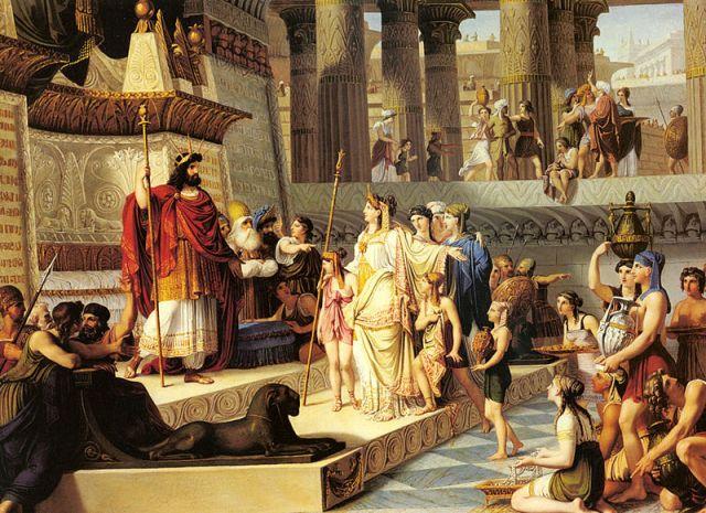 Salomo empfängt die Königin von Saba. Gemälde von Giovanni Demin